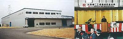 左:1997年 大塚第二工場開設 右:1997年 大塚第二工場落成式・創業35周年記念式